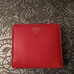 NWT Fossil bright red wallet